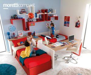 Zona letti e scrivania